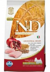 Farmina N&D Mini breed Adult Ancestral Grain сухой корм для взрослых собак мелких пород с курицей и гранатом 800 гр.