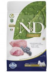 Farmina N&D Mini breed Adult Prime сухой корм для взрослых собак мелких пород с ягненком и черникой 800 гр.