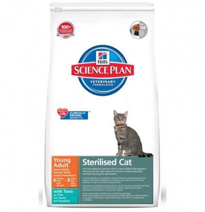 Hill's Young Adult Sterilised Cat сухой корм для стерилизованных кошек с тунцом 300 гр.
